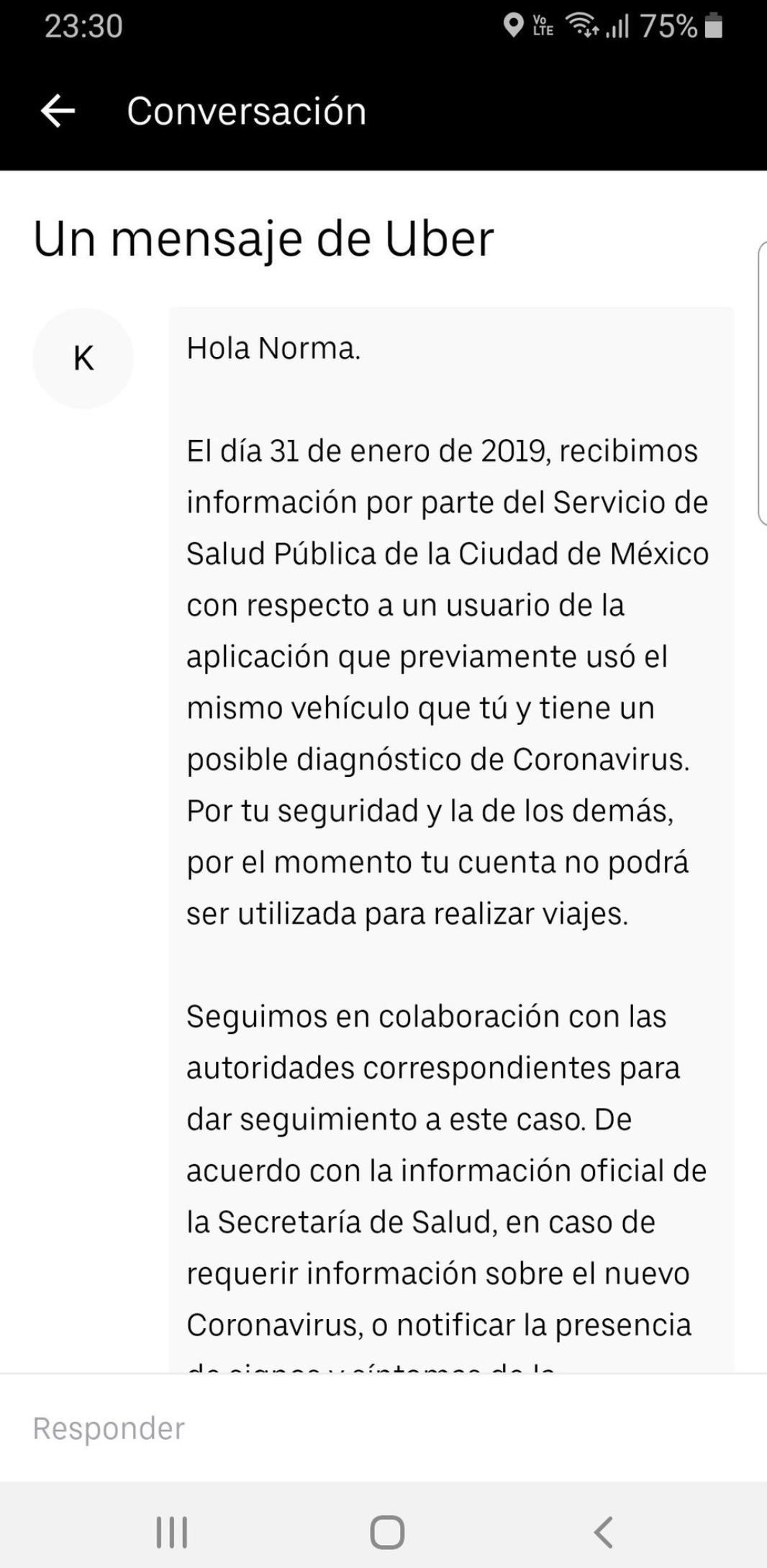UBER México comunica cancelación de cuenta a posibles portadores de coronavirus